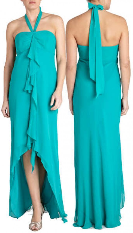 Coast Maxi Dress in Jade.  Pure Silk, Halter Neck with Centre Waterfall Frill and Asymmetric Hemline