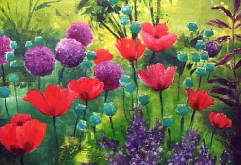 """Alliums and Poppies"" by Debra Wenlock"