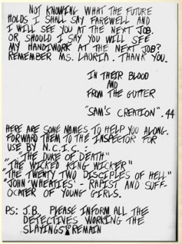 Letter left at a crime scene