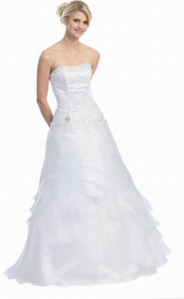 buy a strapless wedding gown for less