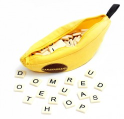 BANANAGRAMS, source Wikipedia - Bananagrams, Appletters, Pairs in Pears are FUN word games for kids BUT grown-ups love them too!