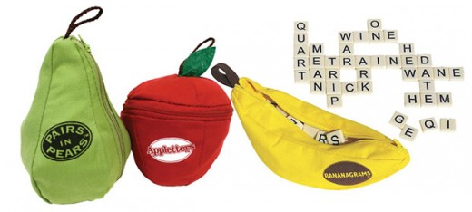 Bananagrams, Appletters, Pairs in Pears are FUN word games for kids BUT grown-ups love them too!