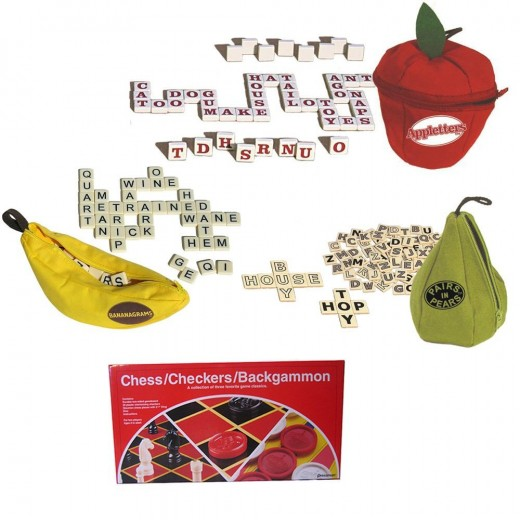Bananagrams Appletters & Pairs in Pears Plus Chess Checkers and Backgammon Deluxe Game Bundle