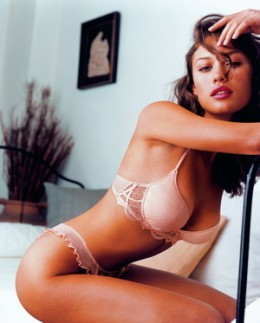 Olga Kurylenko models in underwear