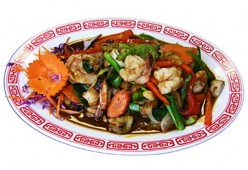 LOW CALORIE STIR FRY SHRIMP WITH MIXED PEPPERS in Maple and Mustard Glaze Recipe