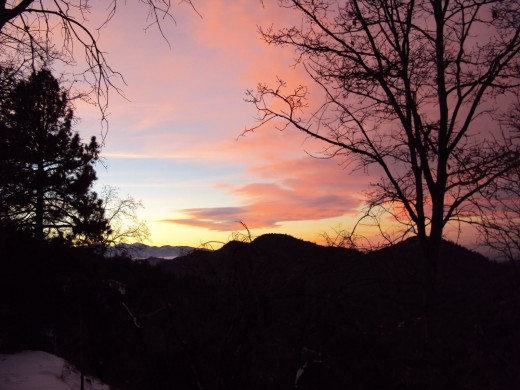 Purple, pink, blue, and orange tones during a sunset in the San Bernardino Mountains.