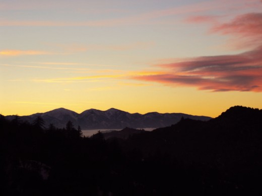 View of Mount Baldy during sunset.  This picture was captured in the San Bernardino Mountains.