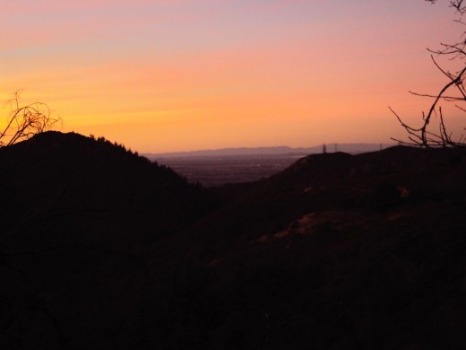 Orange, purple, and pink colors in the sunset over Hesperia.