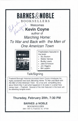 Kevin Coyne is a New Jersey historian who I helped videotape on February 20, 2003 prior to his book talk in Freehold, NJ, supposedly  one of the oldest towns in the country.