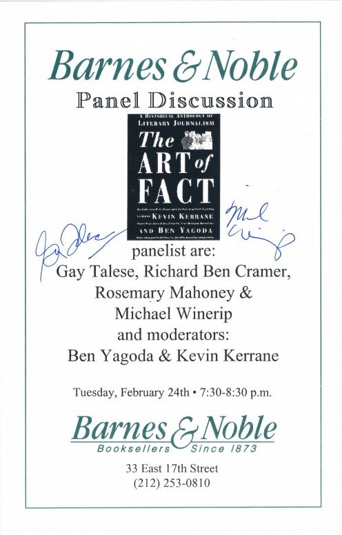 This flier reveals the autographs of authors Gay Talese and Michael Winerip. Captured on February 24, 1998 at a panel discussion about the book, The Art of Fact, at the Union Square B&N.