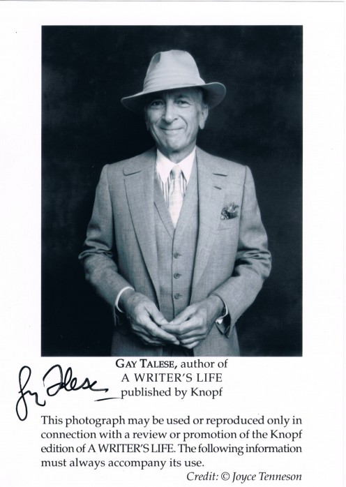 "Talese wrote for The New York Times in the early 1960s and helped to define literary journalism or ""new nonfiction reportage"", also known as New Journalism. His most famous articles are about Joe DiMaggio, Dean Martin and Frank Sinatra."