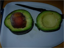 Step 1A - Cut the avocado in half - preserve the seed