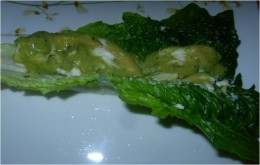 Step 3 - Pour Avocado Dressing over this leaf