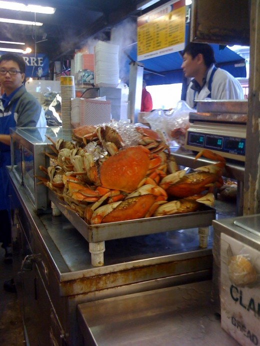 Dungeness crabs at San Francisco's Fisherman's Wharf are a sustainable seafood choice because there are strict rules over which crabs can be kept and other species seldom find their way into the crab traps, and aren't killed if they do.