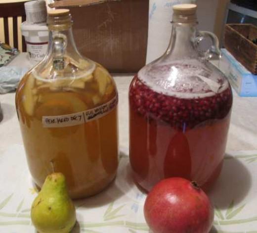 Pear melomel and Pomegranate melomel