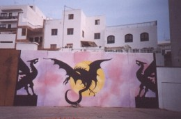 Reptilian mural in Icod de los Vinos the City of the Dragon Tree. Photo by Steve Andrews