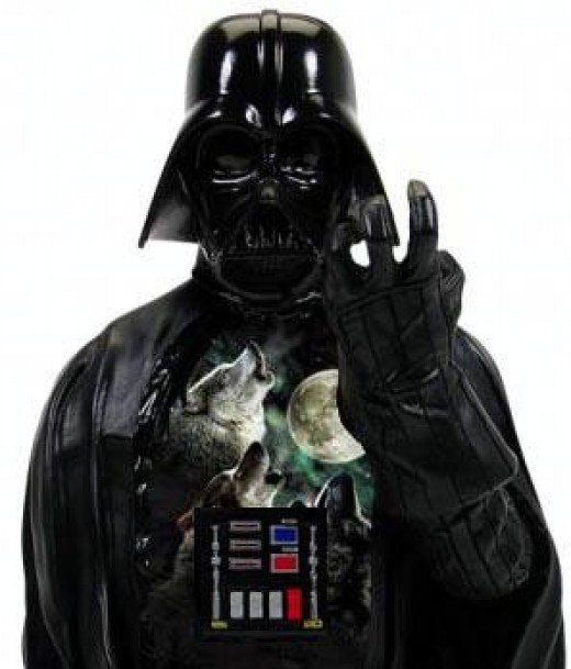 Darth Vader wears the 3 wolf moon t shirt.