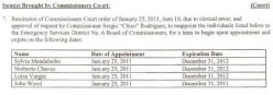 Feb. 8, 2011. County Commissioners agenda. To rescind and reappoint the members of ESD6, due to clerical error. No. Joe Hearn.