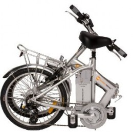 An electric bike folded up ready for the trunk and then the commute into work.