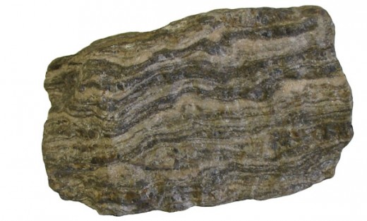 Gneiss, a foliated metamorphic rock