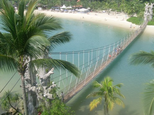 Palawan Beach, Sentosa Island and bridge to southern most point of continental Asia.
