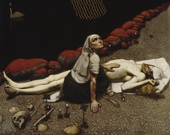 Lemminkinen's Mother (1897) by Akseli Gallen-Kallela. This work depicts a scene from the Finnish epic poem Kalevala. Image from Wikipedia