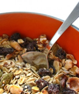 A very simple and healthy recipe, Oatmaster Muesli is an excellent way to start the day. This recipe makes enough for about 15 servings. Store the muesli in the fridge to best preserve the nutty fresh flavour.