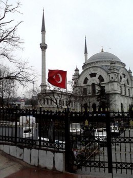 mosque and turkish flag