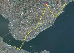 my route, starting and finishing in taksim square (red circle)