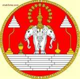 A representation of the Hindu god named Erawan which was an elephant with three heads