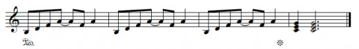 Diminished-minor (half-diminished) seventh chord, resolving.  Original example.