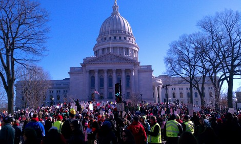 This is one of several photos from the source link shown of a large demonstration in Madison Wisconsin. In a conversation with Ian Murphy of the Buffalo Beast (thinking it was Koch) he said for 8 years as County Executive he never compromise and he i