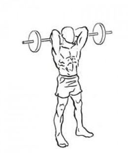 Standing barbell tricep extension