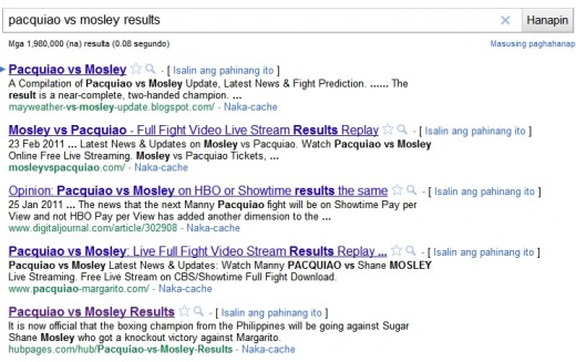 "Search results for keywords ""Pacquiao vs Mosley Results"""