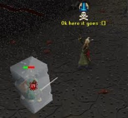 Player casting ice barrage on an opponent. (Ancient spellbook)