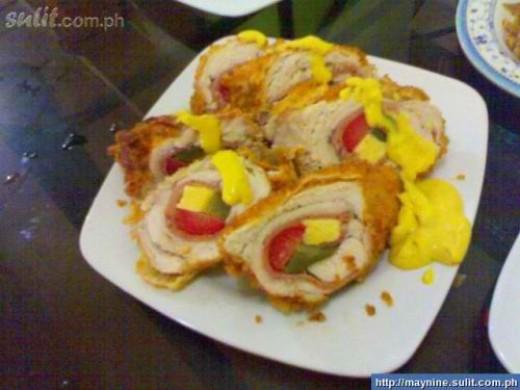 Homemade Chicken Roll with mustard dressing