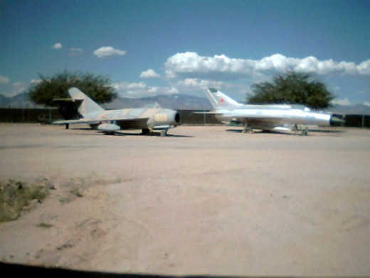A Soviet Air Force MiG-U15T1 and MiG-21PF at the Pima Air and Space Museum