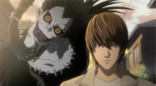 Light and Ryuk go to the grocer for some apples.