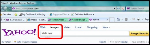 Step 1 - Go to Yahoo, click on images, and type in the image you are searching for
