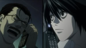 Soichiro and L on the phone.