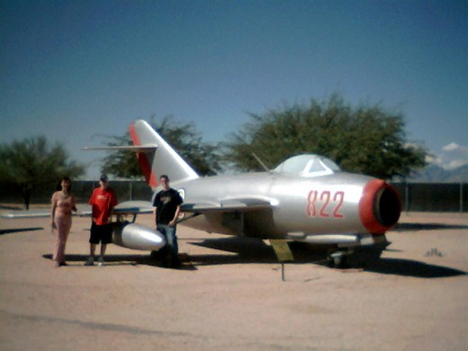 My wife and sons in front of a Soviet Air Force MiG-15 at the Pima Air and Space Museum