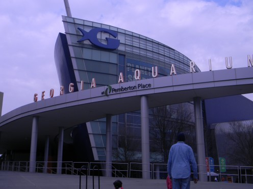 An outside view of the Georgia Aquarium in Atlanta, Georgia.