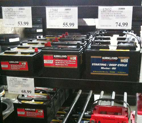 Typical Battery Display for Kirkland Batteries and Optima Batteries in a Costco Store.