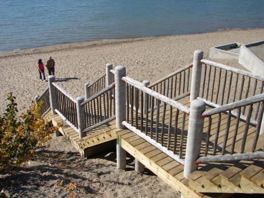The stairs leading from the deck down to the beach at Bennett Lake in Carcross.