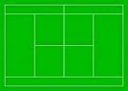 Above view of tennis court lines.