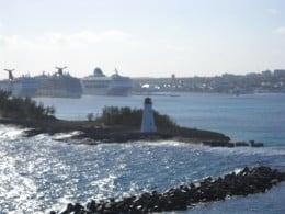 Cruise entering Nassau Harbour