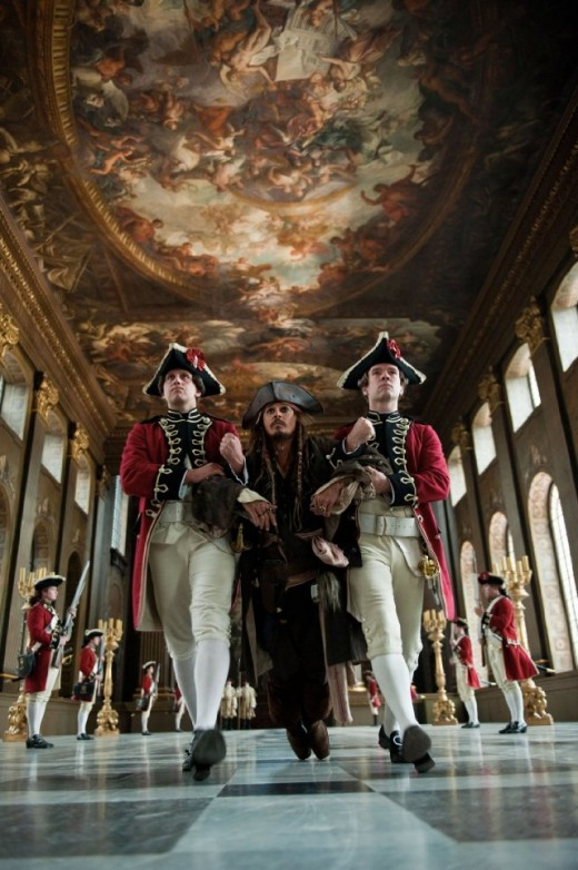 Jack is dragged by Royal Guards of King John II @ Pirates 4 movie trailer