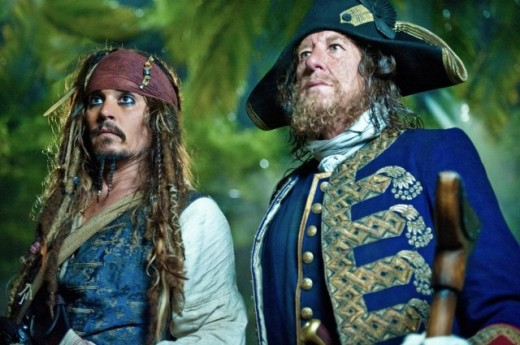 Jack Sparrow and Barbossa @ Pirates 4 movie wallpaper
