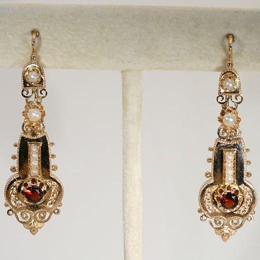 Etruscan Style Revival Earrings, c. 1870