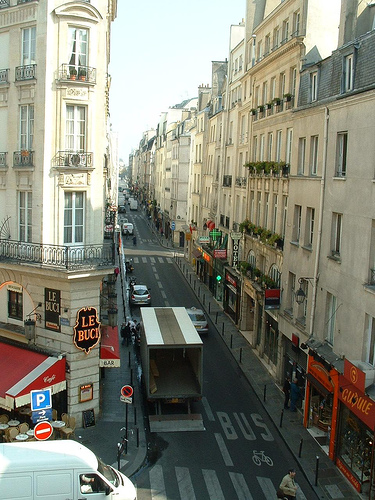 The view down into exciting latin quarter streets from the Hotel le Petit Trianon in central Paris